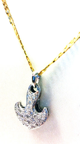 Diamond Pave Anchor Pendant (shown with 14kt yellow cable chain)