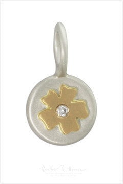 Silver Round Pendant with Gold Flower and Diamond