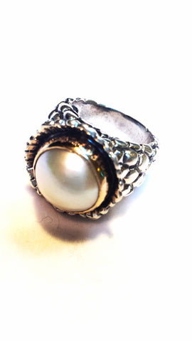 Pomegranate Ring with Mabe Pearl in Silver and 14kt
