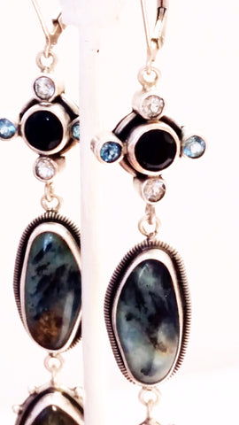 Andean Opal Earrings with Black Onyx and Labradorite