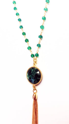 Green Onyx Tassle Necklace