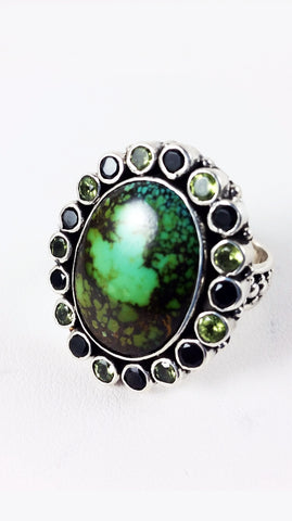 Earth Green Turquoise Gem Ring - SALE