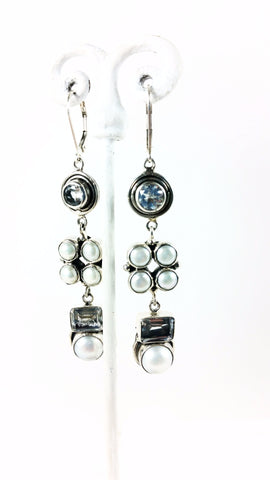Matrix Pearl and White Topaz Drop Earring