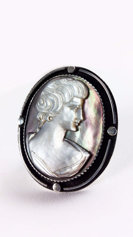 Black & White Cameo Ring Set in ULTRA Silver (950) Adjustable