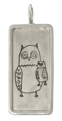 Owl Always Love You, Size 4 Sterling Silver Framed ID Tag (Non Personalized)