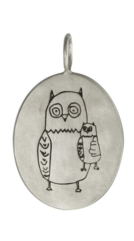 Owl Always Love You, Size 7 Sterling Silver Oval Charm (Non Personalized)