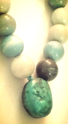 Multi-Colored Amazonite and Turquoise Pendant Bracelet