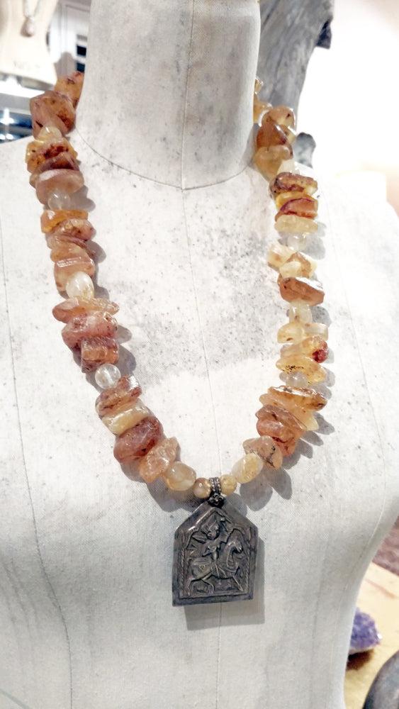Baltic Amber & Golden Rutilated Quartz Necklace - One Available for Order