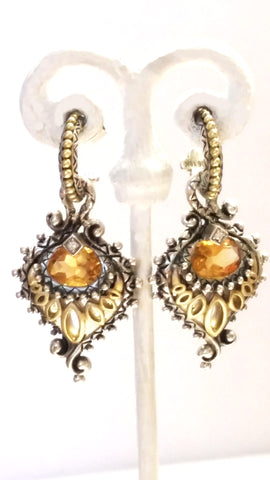 Barbara Bixby Vintage Feather earrings in 18kt Gold Silver and Diamonds SOLD