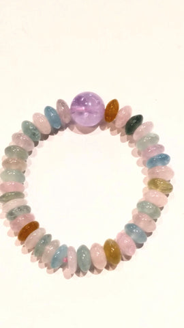 Cotton Candy Bracelet with Amethyst & Beryl Stones