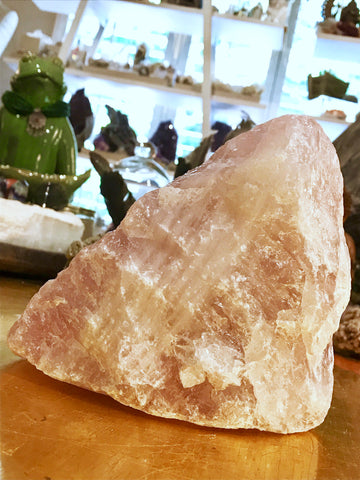 Big Rose Quartz Chunk Crystal with White Quartz Striping