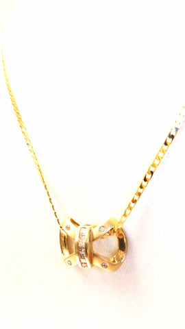 Diamond Bow Slide in 14kt Yellow Gold (Shown with Chain)