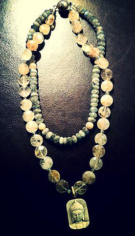 Buddha Necklace with Golden Rutilated Quartz and Labradorite SOLD