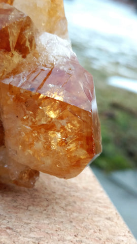 Citrine Cluster Wave on White Quartz Crystal & Banded Agate Base (Medium)