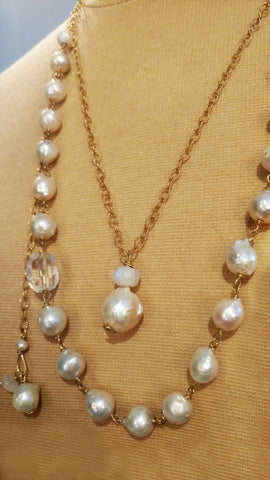 Baroque Pearl & Rainbow Moonstone with Rock Crystal Shard Necklace - SOLD
