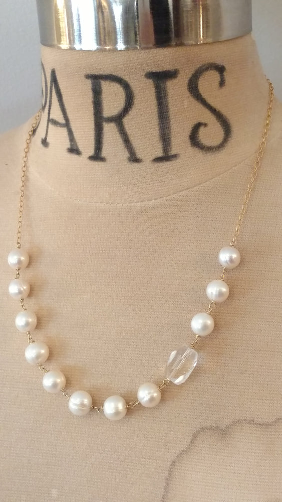 Classic Pearl Necklace with Rock Crystal