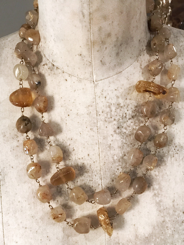 Golden Rutilated Quartz and Raw Amber Necklace