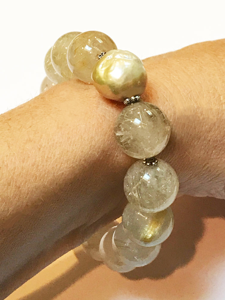 Golden Rultilated Quartz Bracelet with Double Cultured Pearls