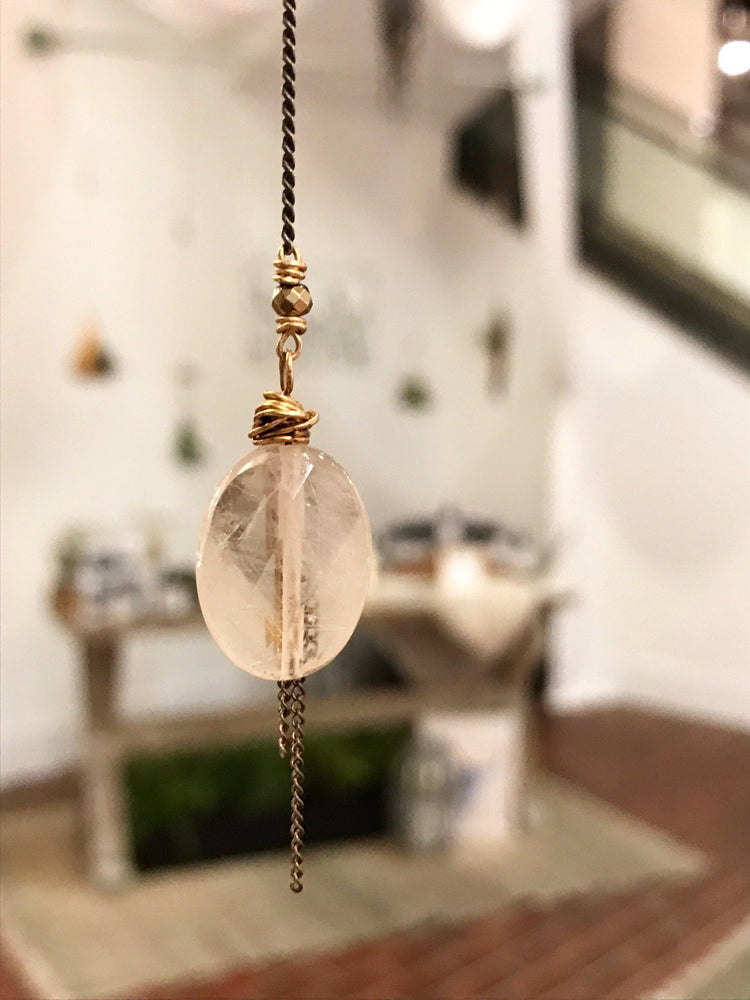 Golden Rutilated Quartz Pendant Necklace with Tassel and Single Pyrite Clasp