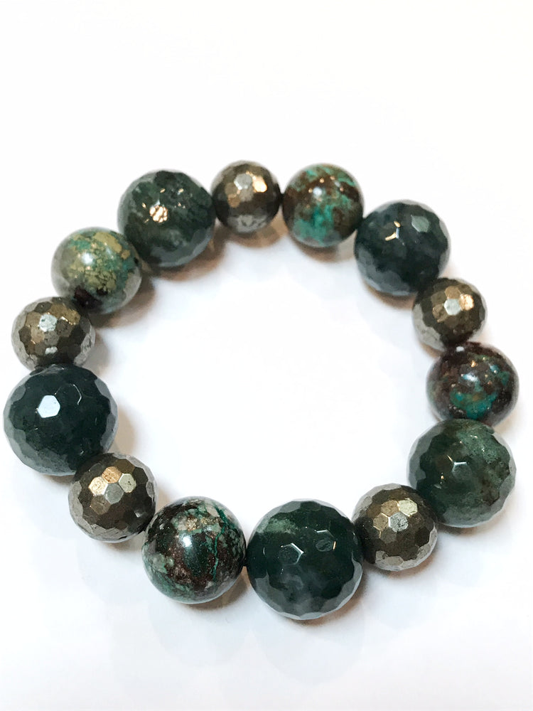 Greens Bracelet with Moss Agate, Chrysacolla, and Pyrite