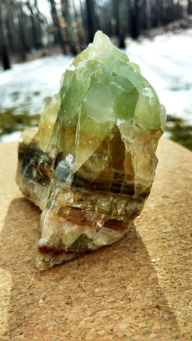 Green Rainbow Calcite Chunk with Banding (Small Medium)