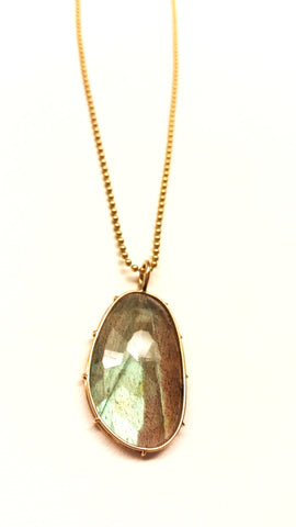 Labradorite Harriet Stone in 14kt Yellow Gold - READY TO SHIP