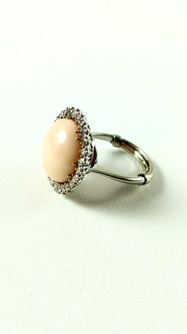 Angel Skin Coral and Diamond Ring in 14kt White Gold