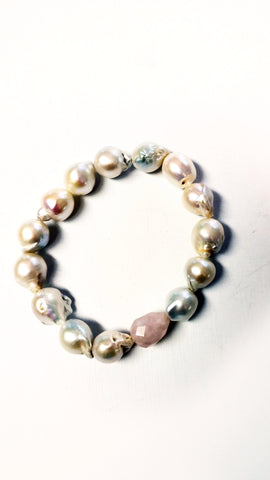 Baroque Pearl and Briolette Rose Quartz Bracelet - SOLD