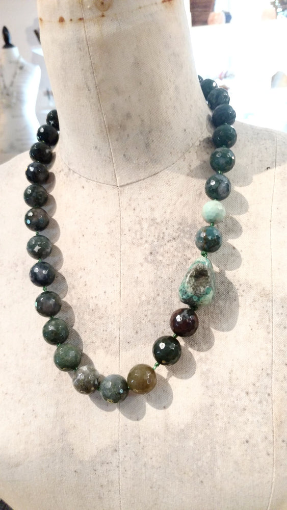 Green Agate Faceted Stone with American Turquoise Chunk