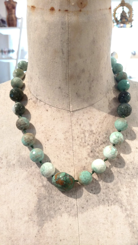 Faceted Chrysoprase Moss Agate and Turquoise Accent Necklace (Stretchable) - SOLD