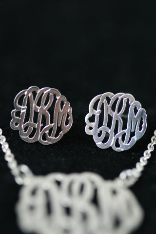 Monogram Silver Stud Earrings - Now Platinum Plated and with 14kt solid white gold posts for allergies!