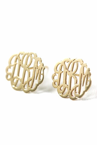 Monogram 14kt Gold Stud Earrings