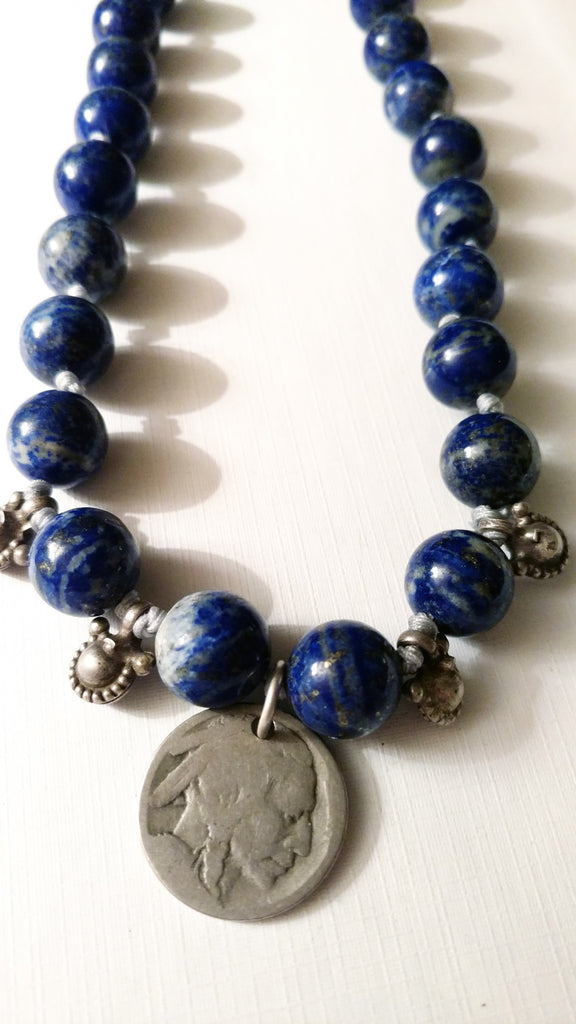 Indian Head Coin Necklace with Lapis and Vintage Silver Chimes