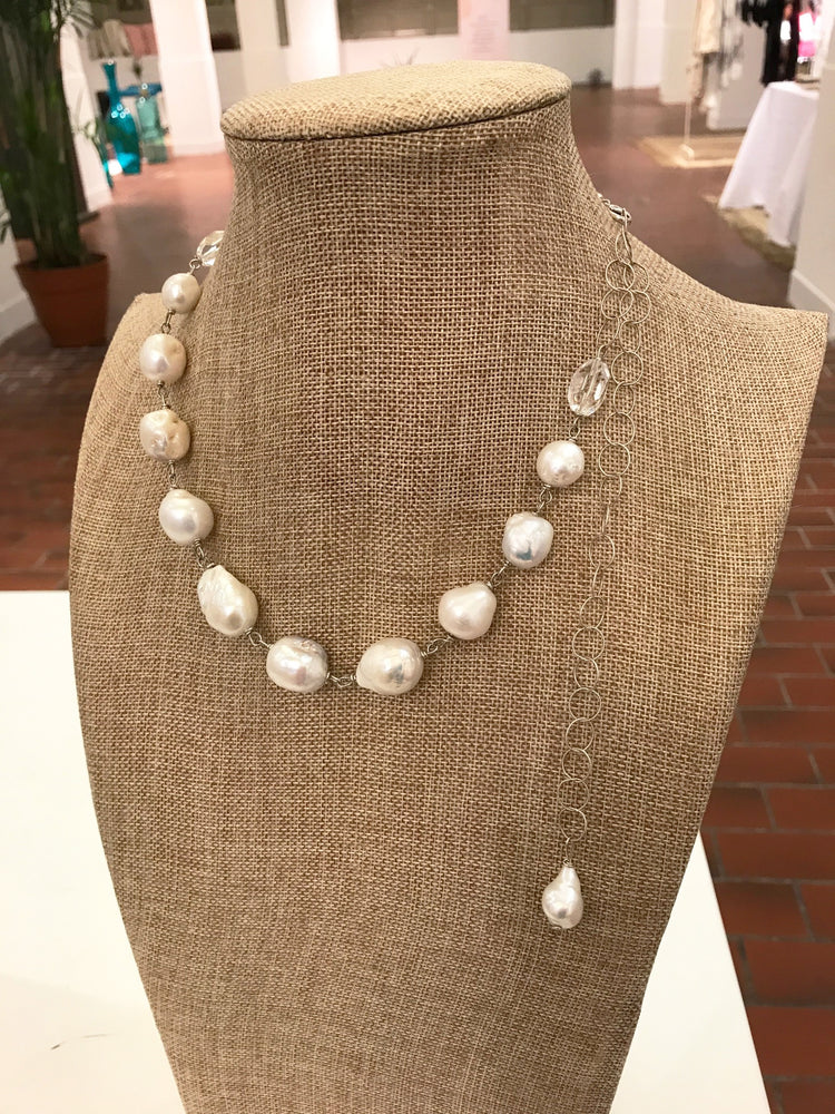 Baroque Pearl & Rock Crystal Shard Necklace in Silver