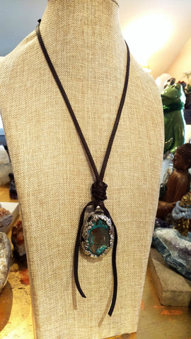Blue Agate Stone Pendant from Nepal on Adjustable Leather Strap & Leather Slide Knot