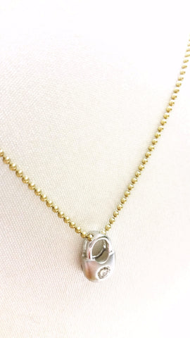 Diamond Lock Pendant in 14kt White Gold (Shown with Chain)