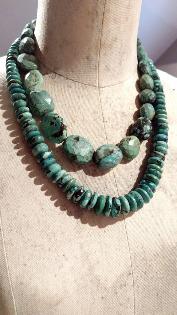 Faceted Graduated Rondelle Necklace with American Turquoise