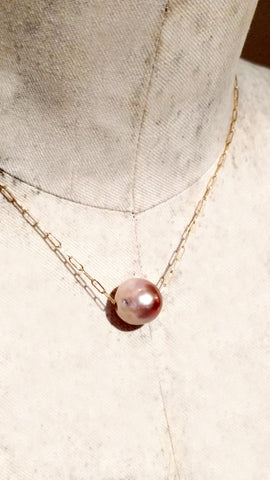 Big Pink Baroque Pearl Slide with Rose Quartz Clasp on Long Links Chain
