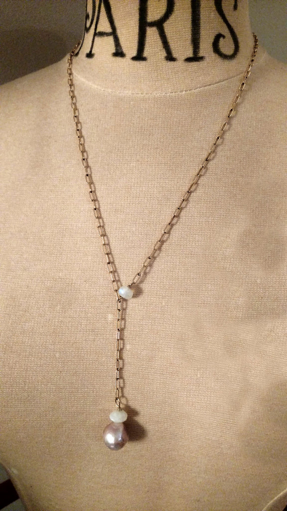Blush Pink Pearl and Double Moonstone Lavalier Necklace