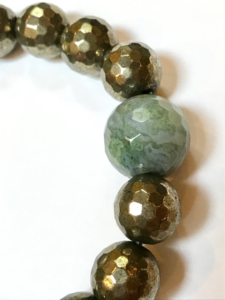Pyrite Bracelet with Moss Agate Accent Stone