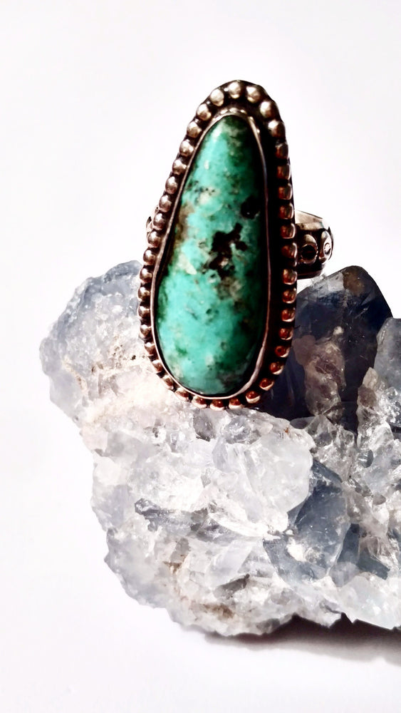 Turquoise Spire Ring with Navajo Detail