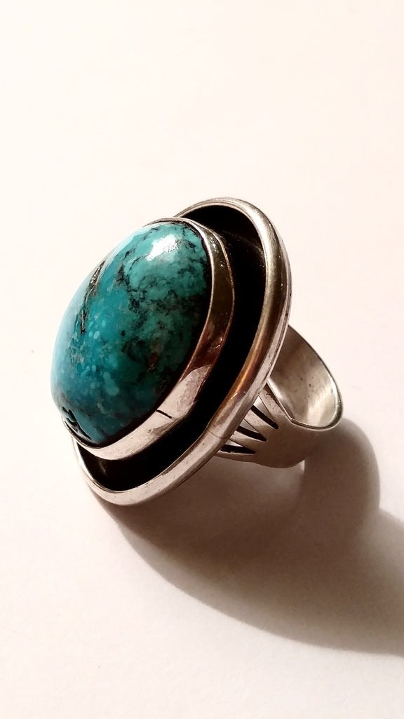 Large Ocean Blue Turquoise Stone Ring - SOLD