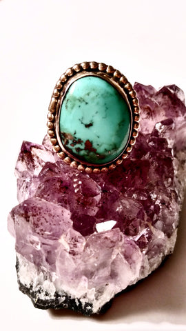 Pyrite - Infused Turquoise Ring with Navajo Detail