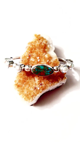 Navajo made Pearl and American Turquoise Bangle Cuff Bracelet