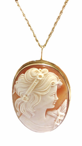 Lorelei Vintage Italian Cameo Pin in 14kt Gold with Flip Up Necklace Bail