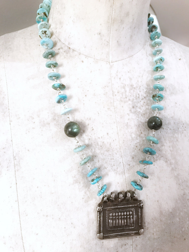 Seven Mothers Vintage Silver Necklace with American Turquoise and Fiery Labradorite Stones