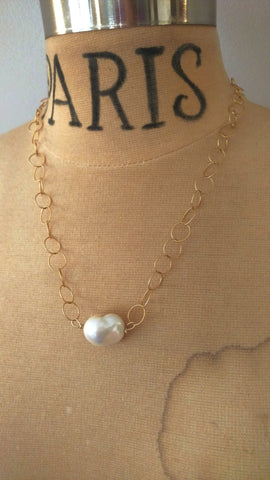 Simple Baroque Freshwater Cultured Pearl and Chain Necklace
