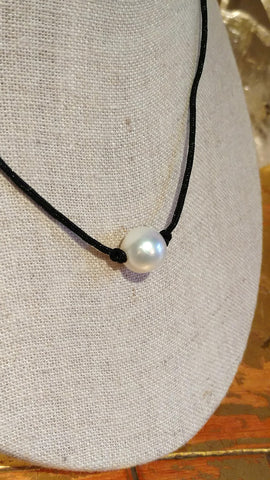 Solitary Pearl Necklace on Lanyard