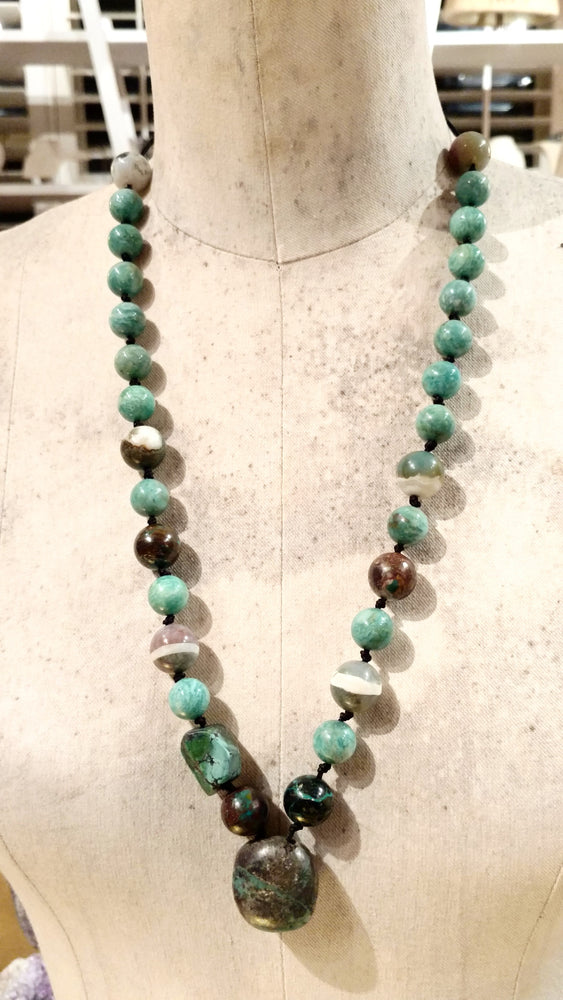 Native Necklace with Amazonite, Agate, Chrysacolla, and American Turquoise Stones - SOLD