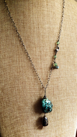 American Turquoise (Untreated) Necklace with Vintage Silver Bell Pendant